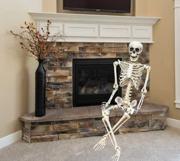 Halloween skeleton fireplace