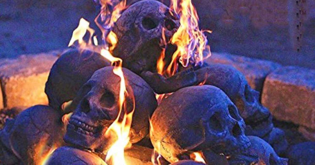 human skull fire logs