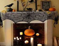 Halloween fireplace mantel scarf