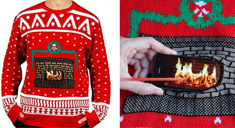 Cellphone fireplace sweaters