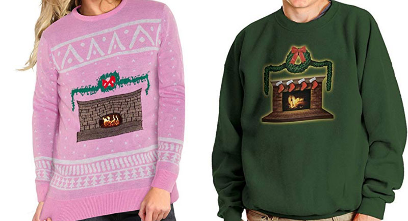 pink or green fireplace sweaters