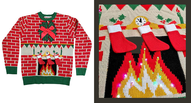Cheesy Fireplace Sweater with Lights
