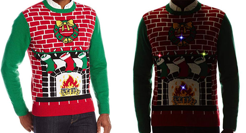 Fireplace Sweater with Motion Activated, Flashing Lights