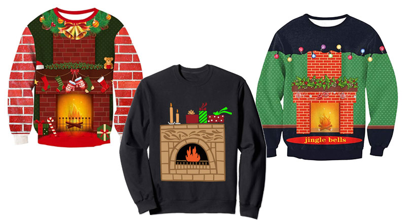 Graphic Fireplace Sweaters